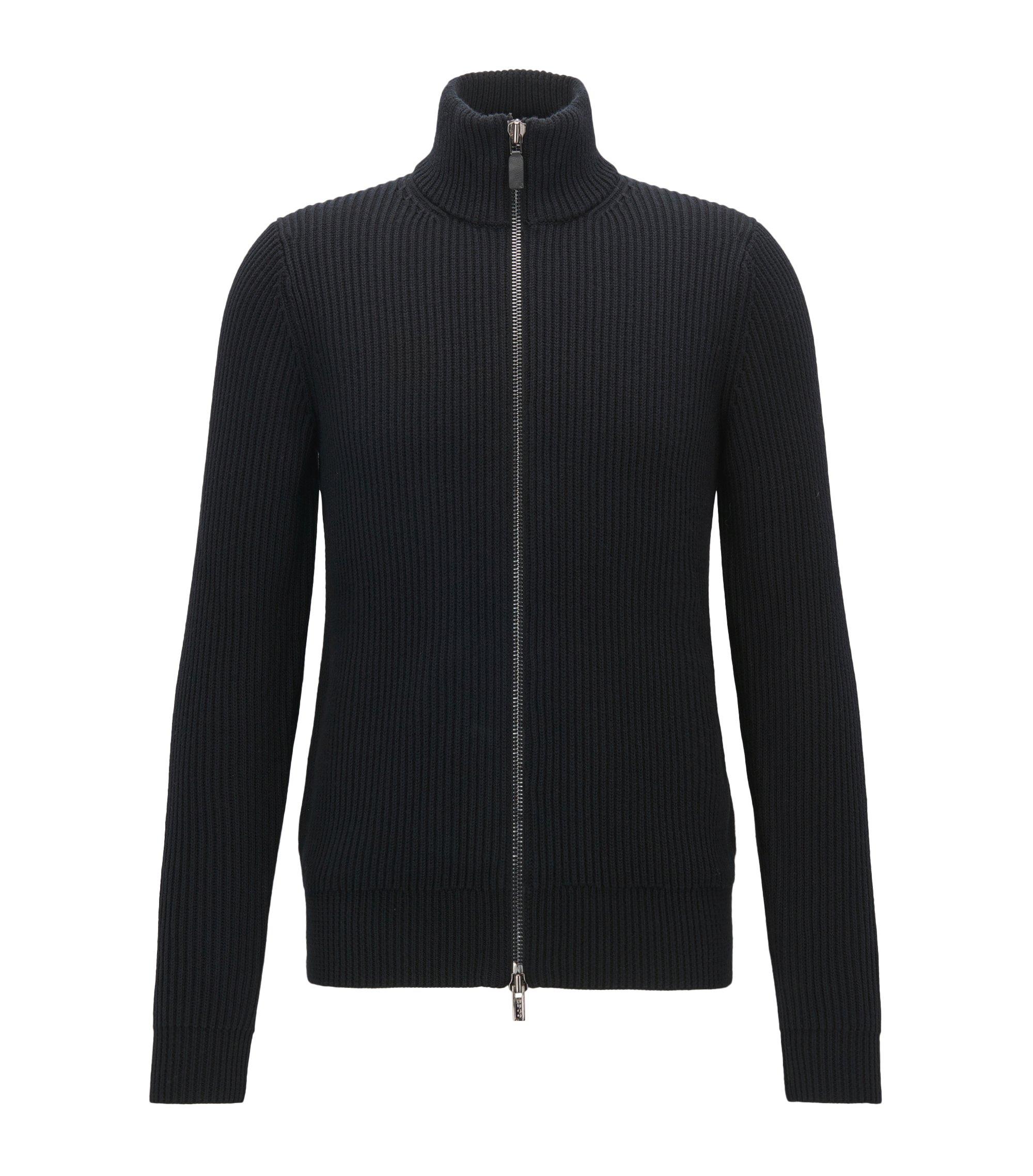 Zip-through cardigan-rib jacket in cotton and wool, Black