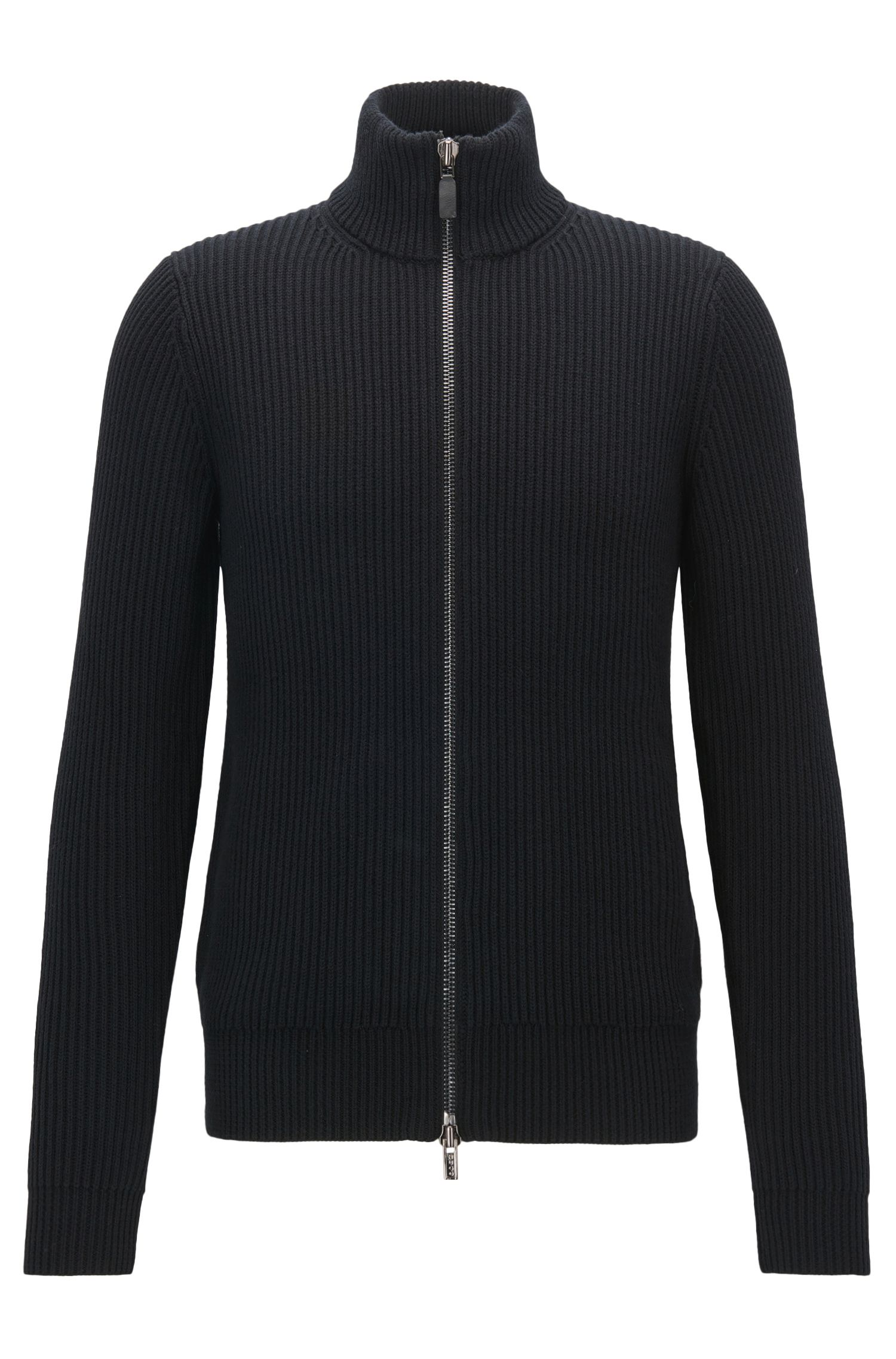 Zip-through cardigan-rib jacket in cotton and wool