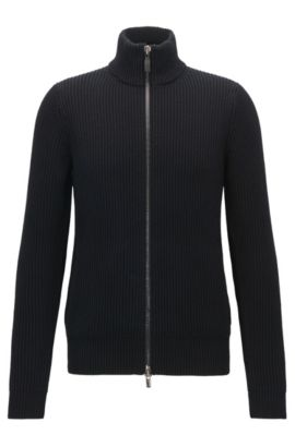 Zip-through cardigan-rib jacket in cotton and wool, Black