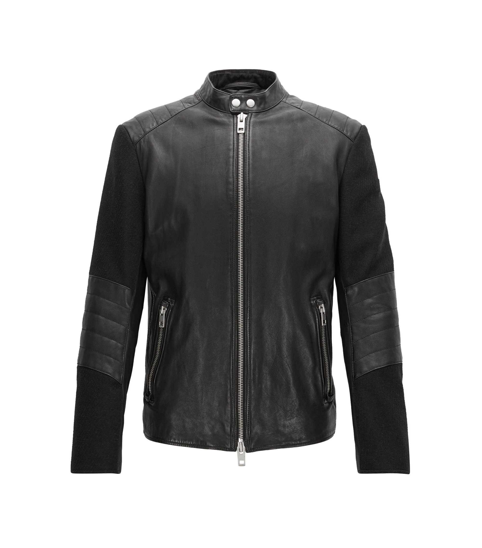 Slim-fit leather jacket with quilting, Black