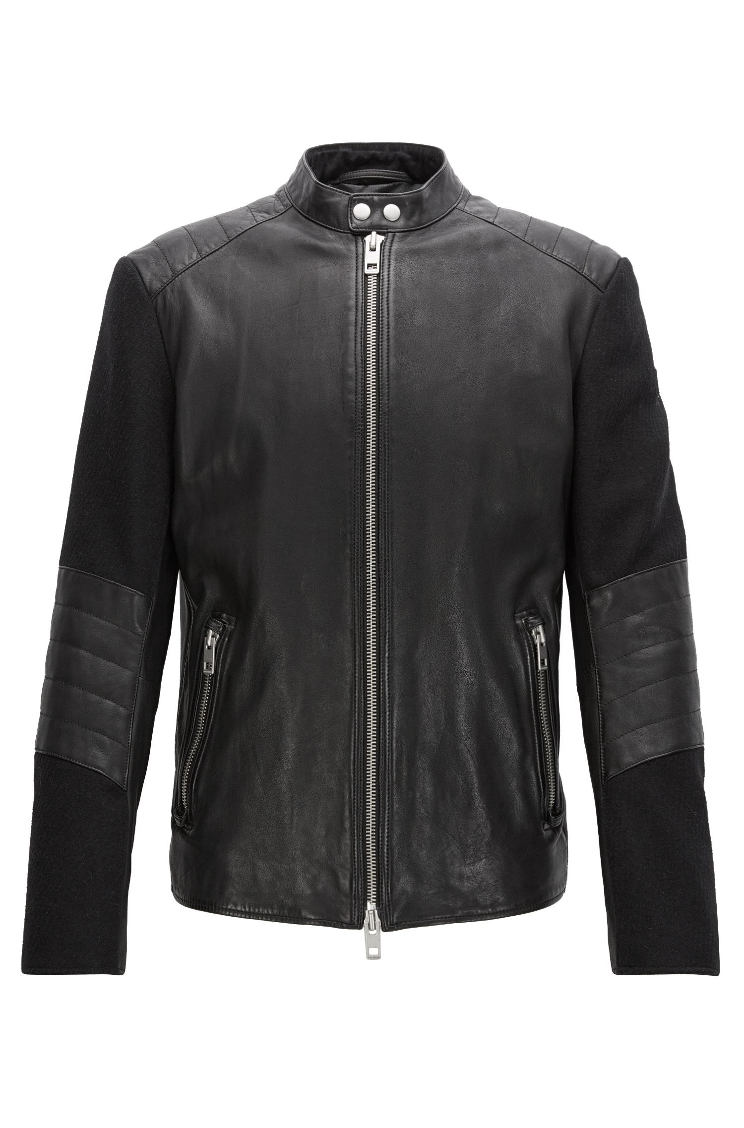 Slim-fit leather jacket with quilting