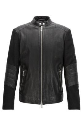 Slim-fit leather jacket with quilting, Noir