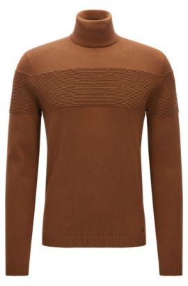 Slim-Fit Rollkragenpullover aus Baumwolle und Wolle, Braun