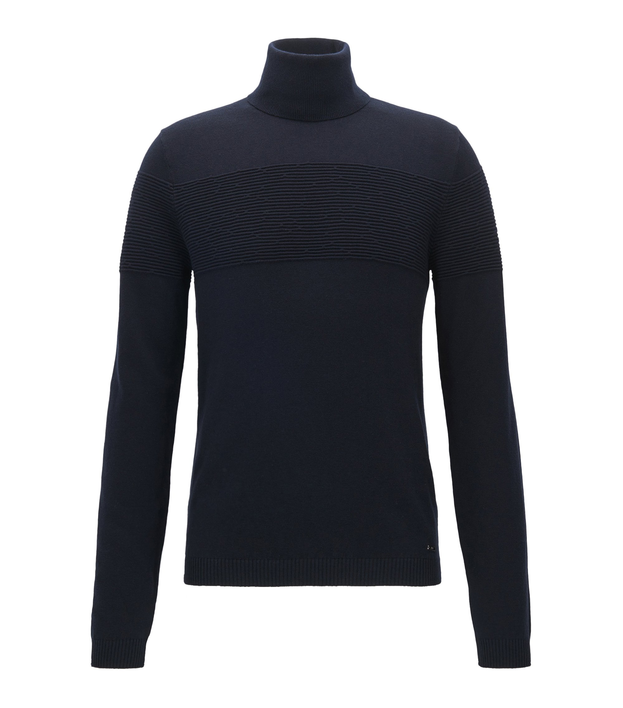 Turtle-neck sweater in cotton and wool, Dark Blue