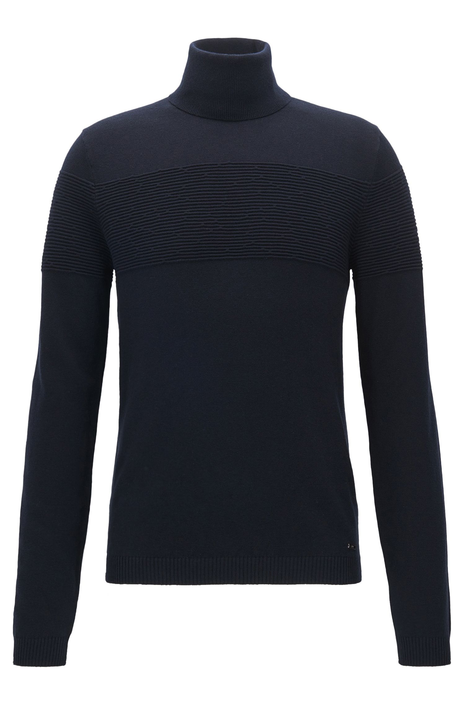 Turtle-neck sweater in cotton and wool