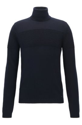 Pull à col roulé en coton et laine, Bleu foncé