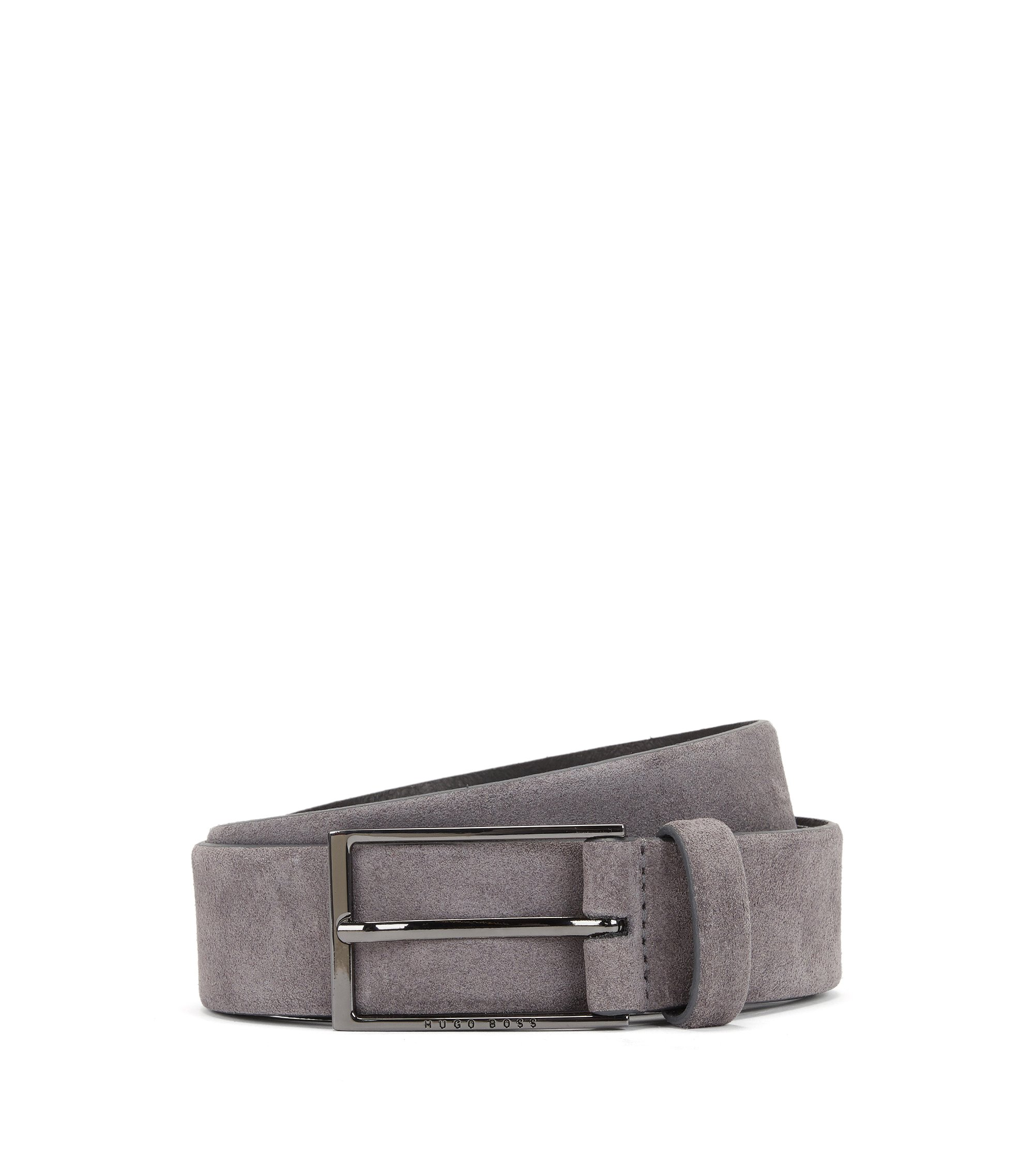 Cinturón de suave ante con hebilla pulida de metal pesado, Gris oscuro