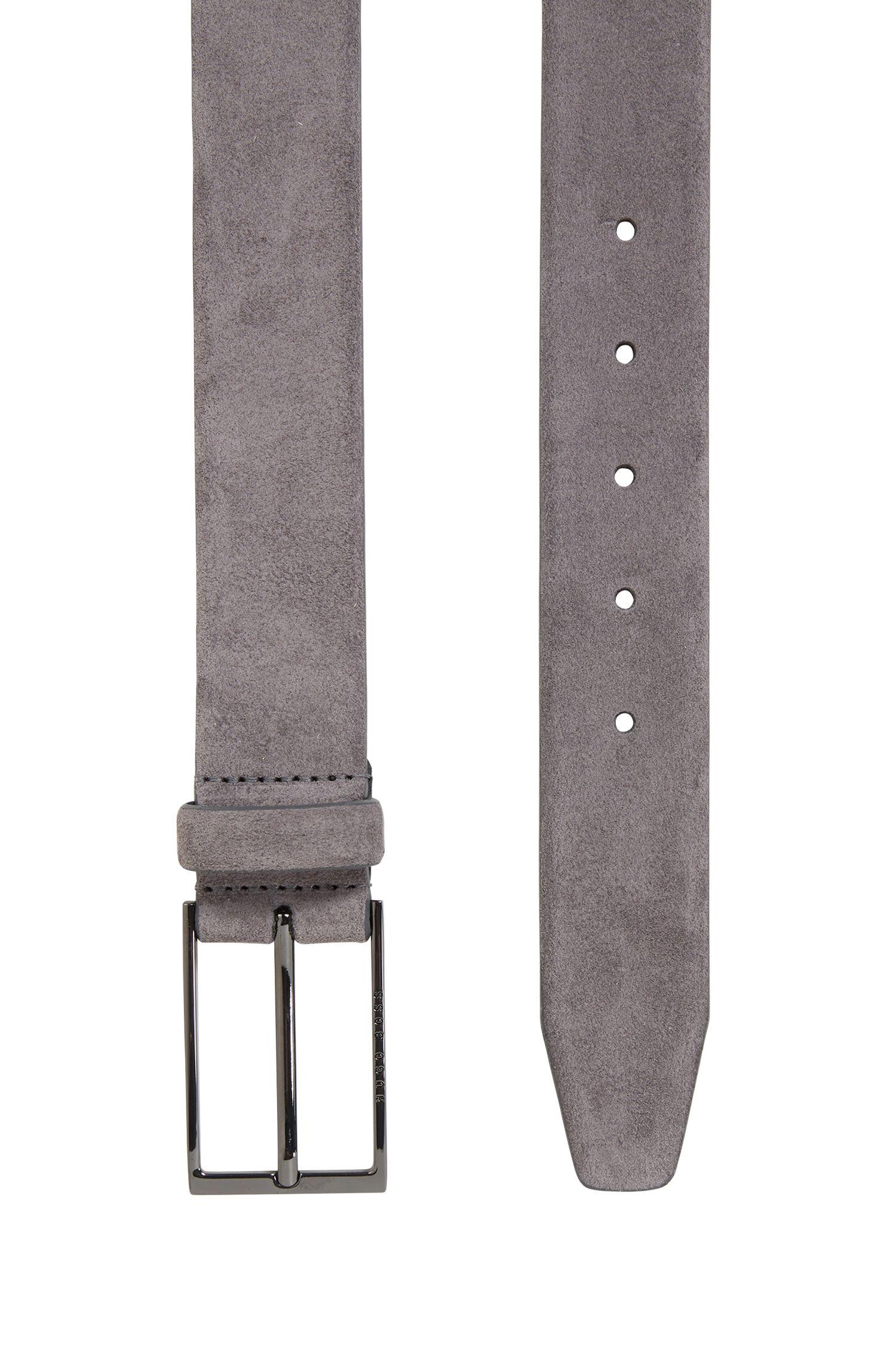 Cintura in pelle scamosciata con fibbia ad ardiglione lucida color canna di fucile