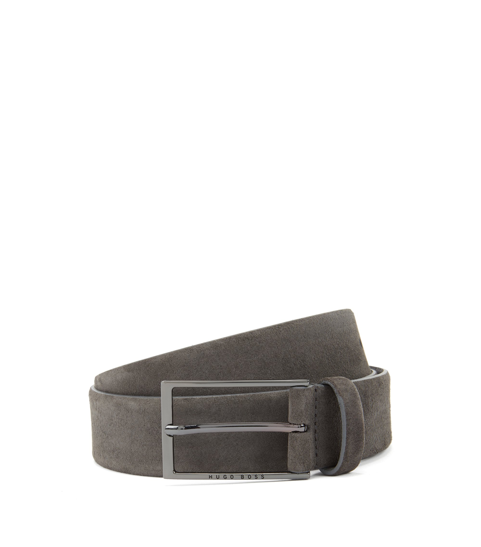 Soft suede leather belt with polished gunmetal pin buckle, Dark Grey