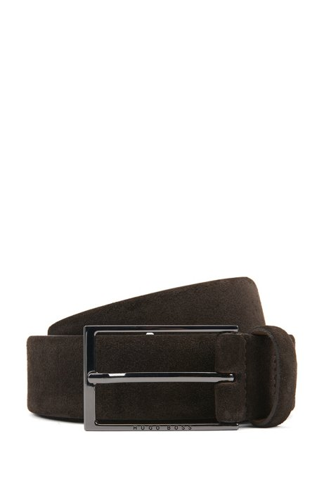 Cintura in pelle scamosciata con fibbia ad ardiglione lucida color canna di fucile, Marrone scuro
