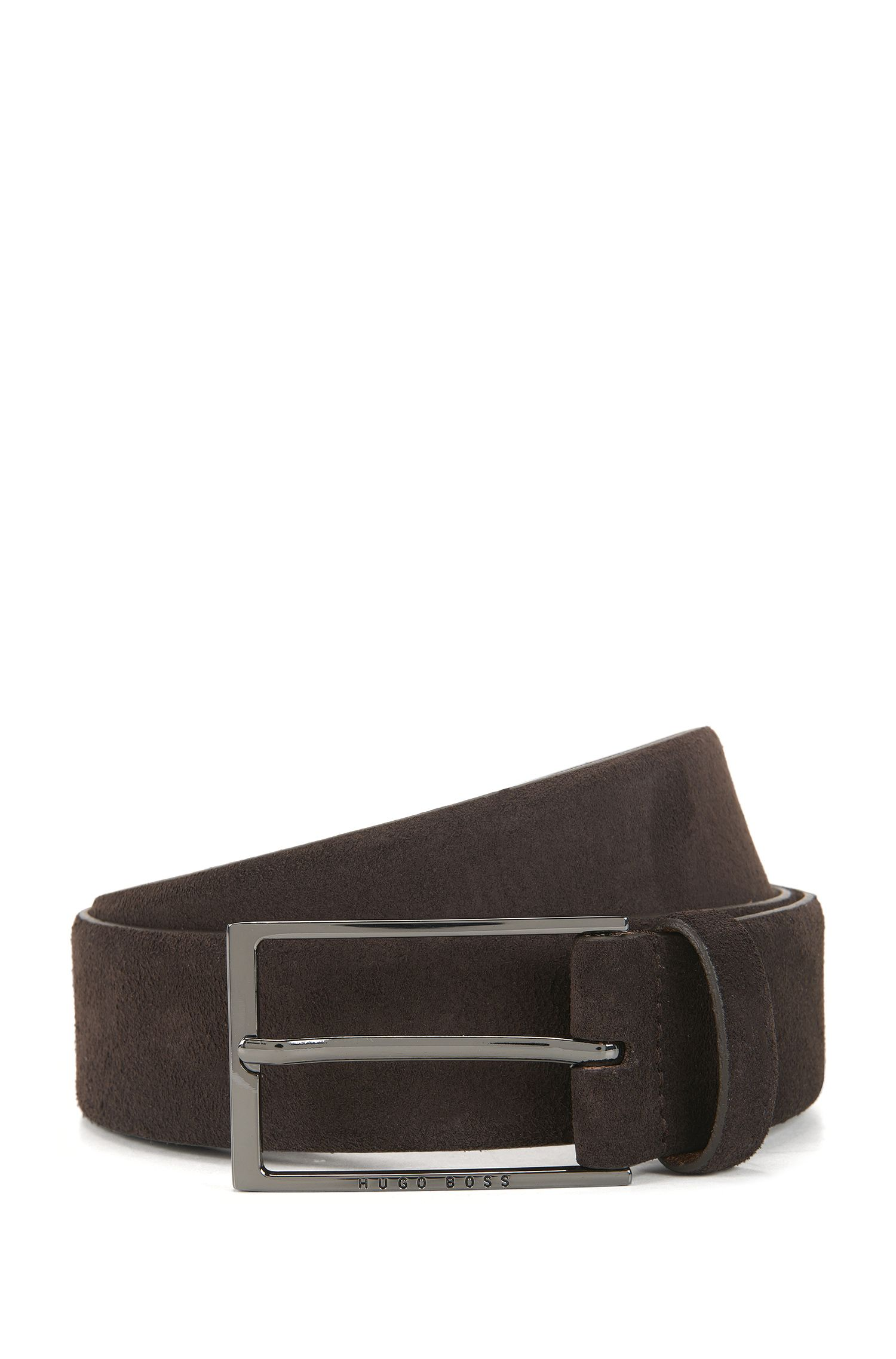 Soft suede leather belt with polished gunmetal pin buckle