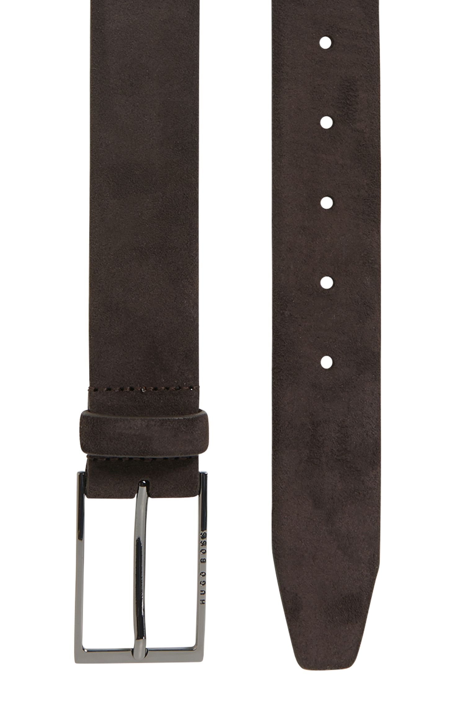 Soft suede leather belt with polished gunmetal pin buckle, Dark Brown