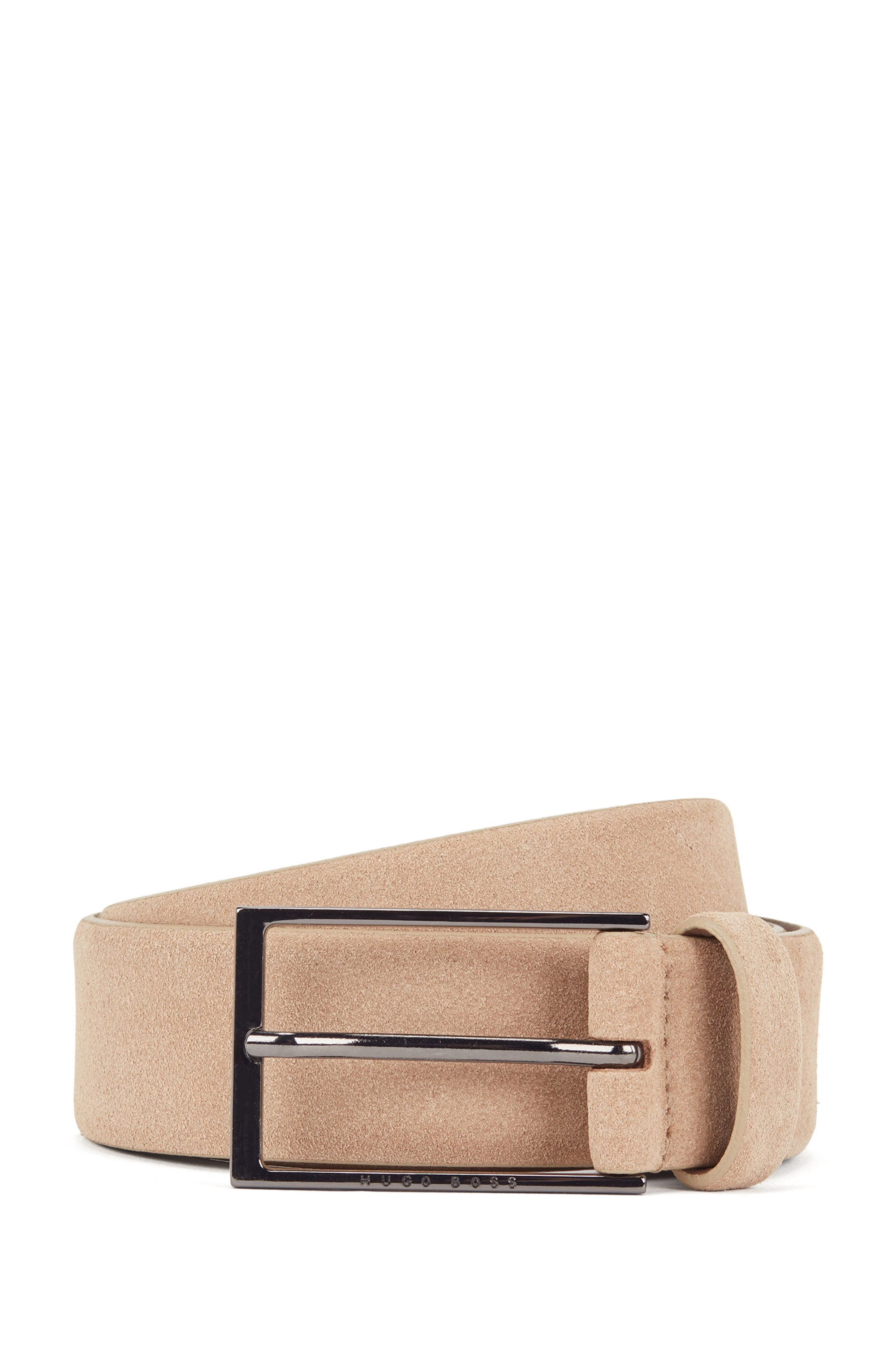 Suede belt with polished gunmetal buckle, Brown