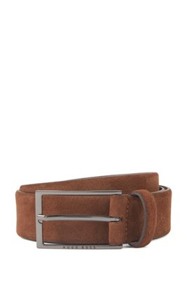 Suede belt with polished gunmetal pin buckle, Brown