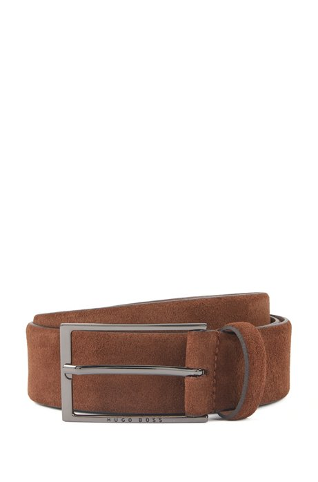 Soft suede leather belt with polished gunmetal pin buckle, Brown