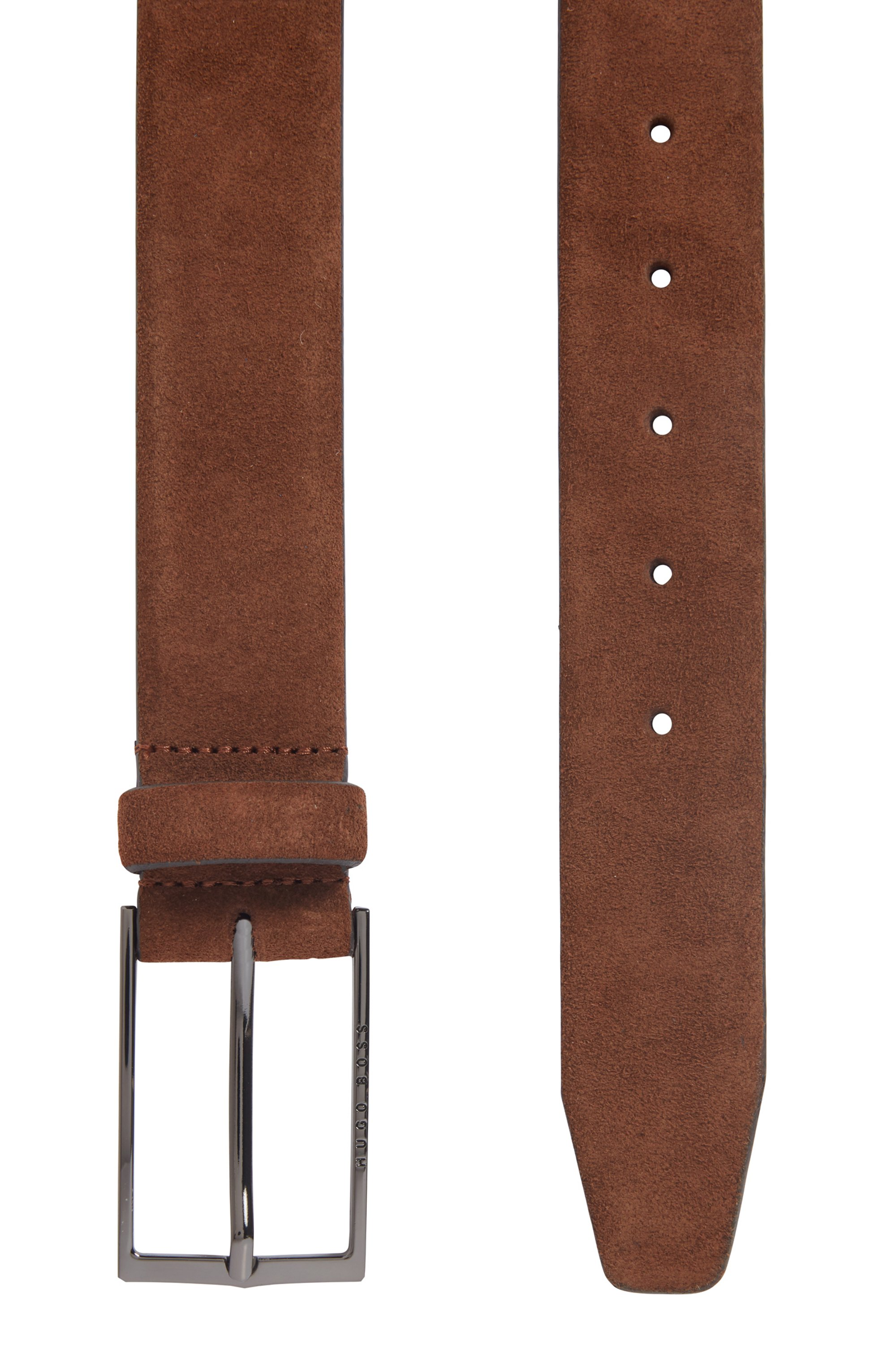 Suede belt with polished gunmetal buckle