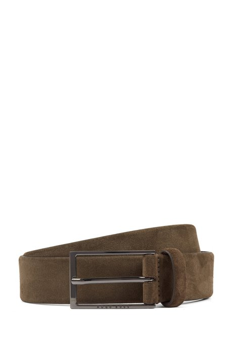 Soft suede leather belt with polished gunmetal pin buckle, Dark Green