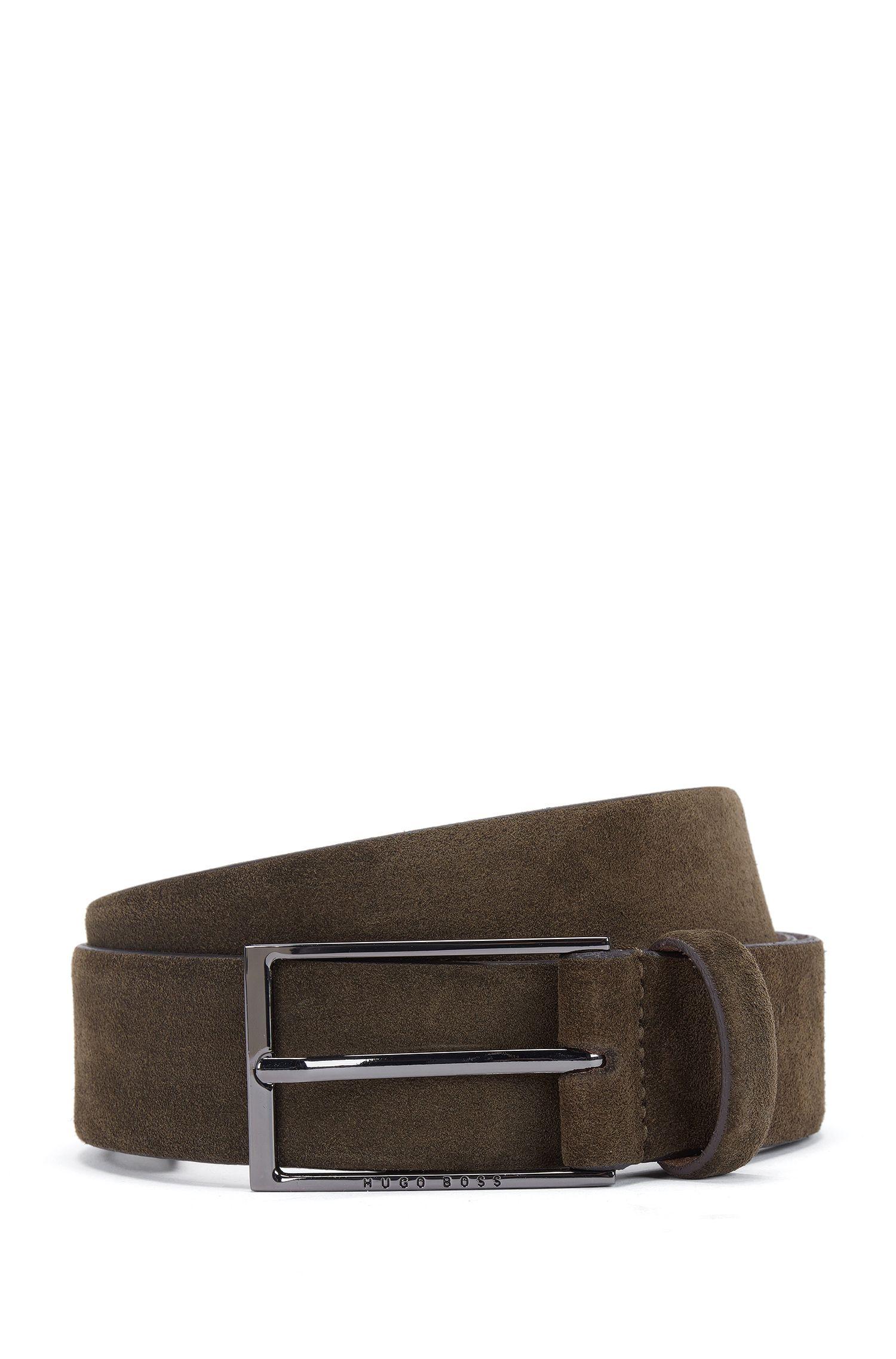 Cinturón de suave ante con hebilla pulida de metal pesado