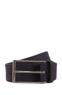 Suede belt with polished gunmetal buckle, Dark Blue