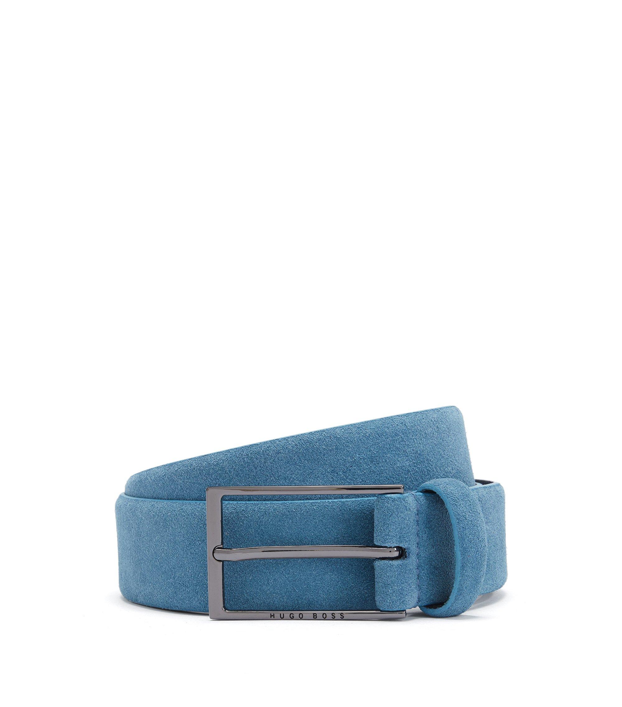 Veloursledergürtel mit glänzend polierter Dornschließe, Hellblau