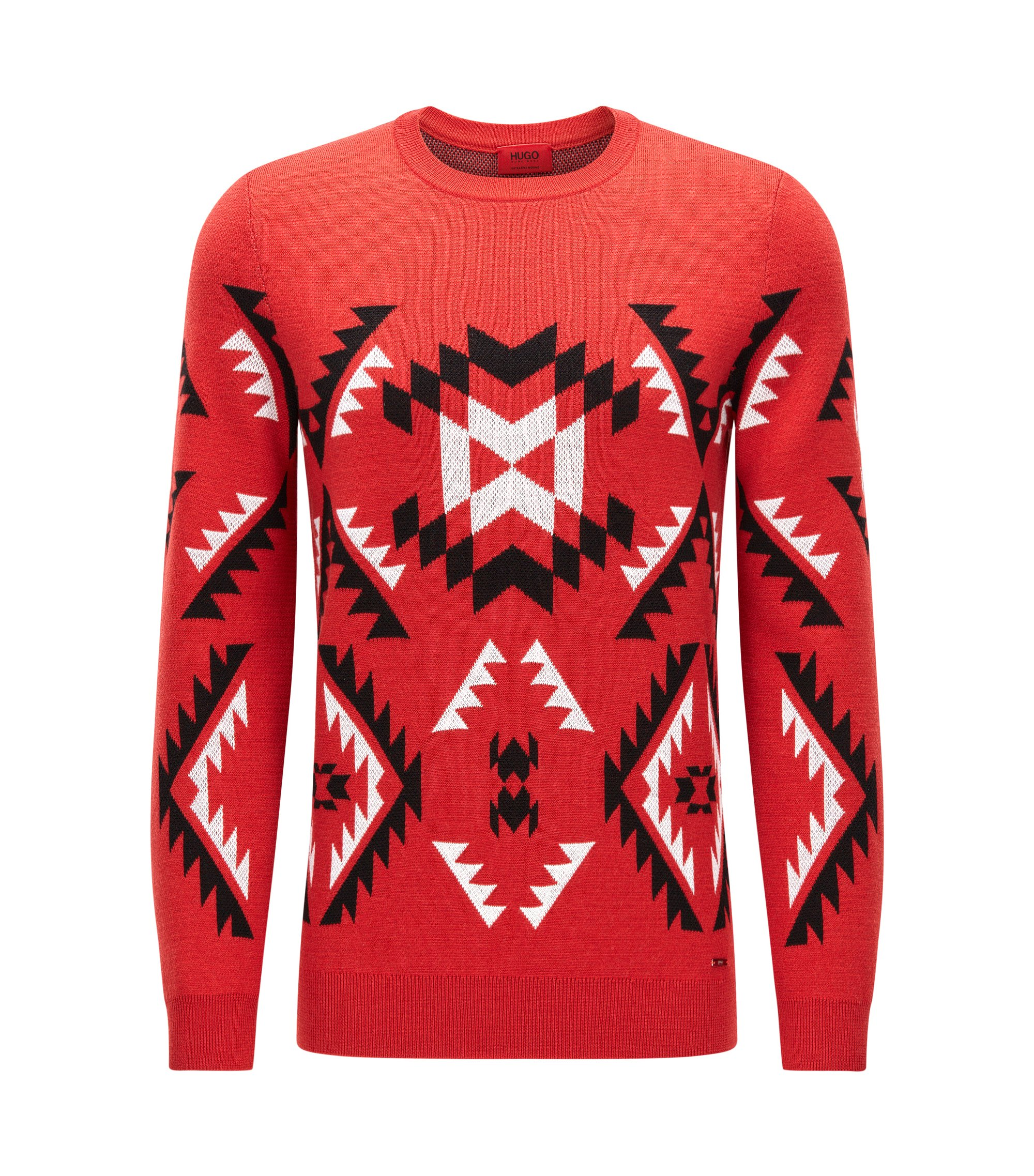 Patterned crew-neck sweater in virgin wool jacquard, Red