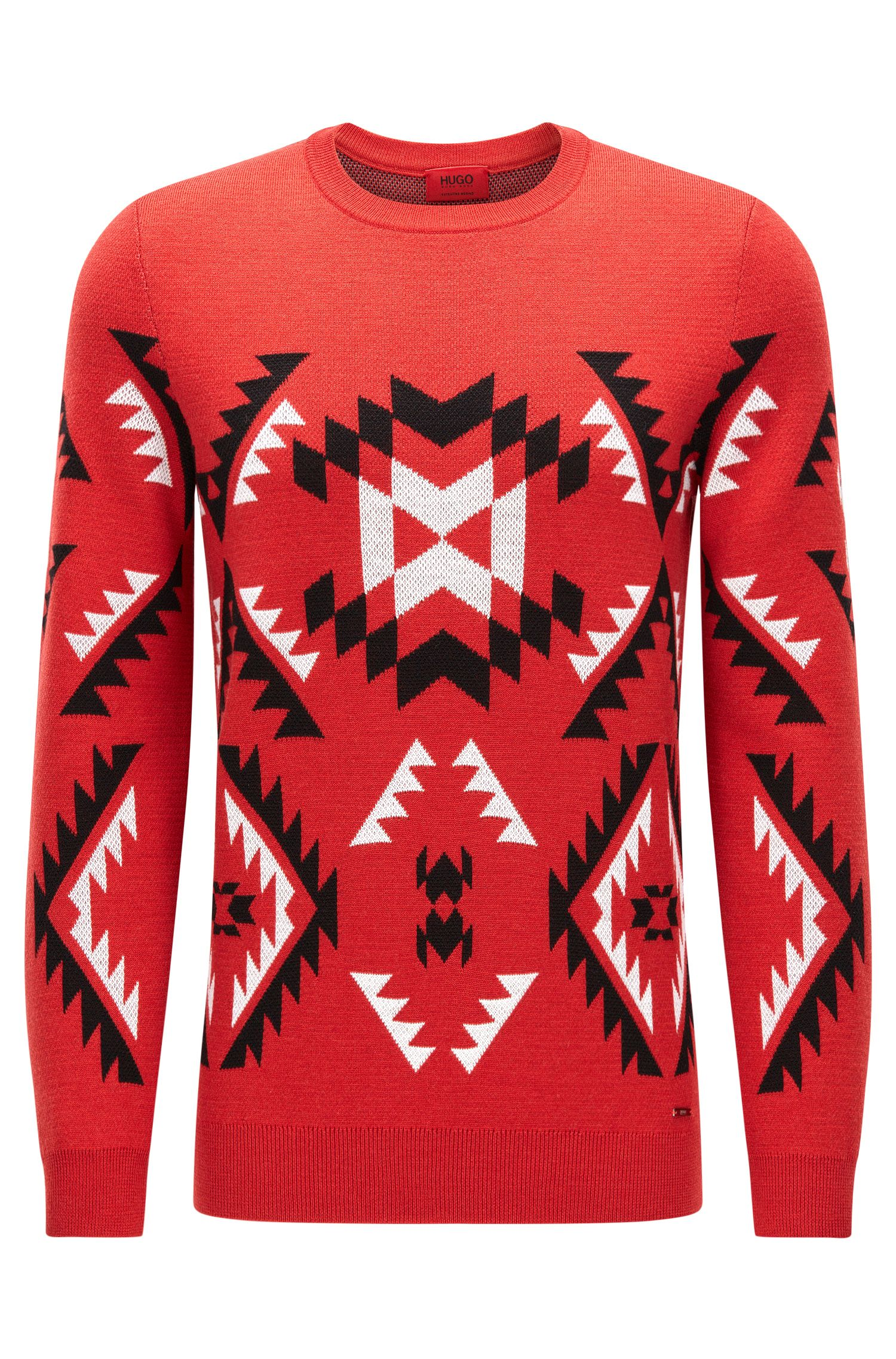 Patterned crew-neck sweater in virgin wool jacquard