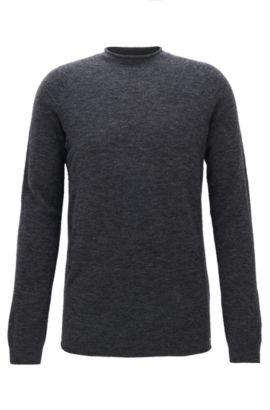 Nahtloser Oversize-Pullover aus einem elastischen Woll-Mix mit Alpakawolle, Anthrazit