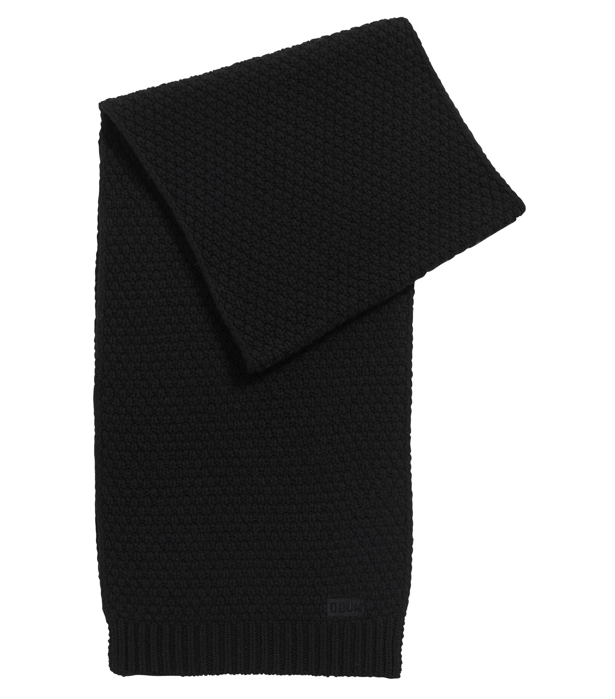 Gebreide sjaal in een jacquard van scheerwol, Zwart