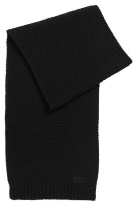 Knitted scarf in virgin wool jacquard, Black
