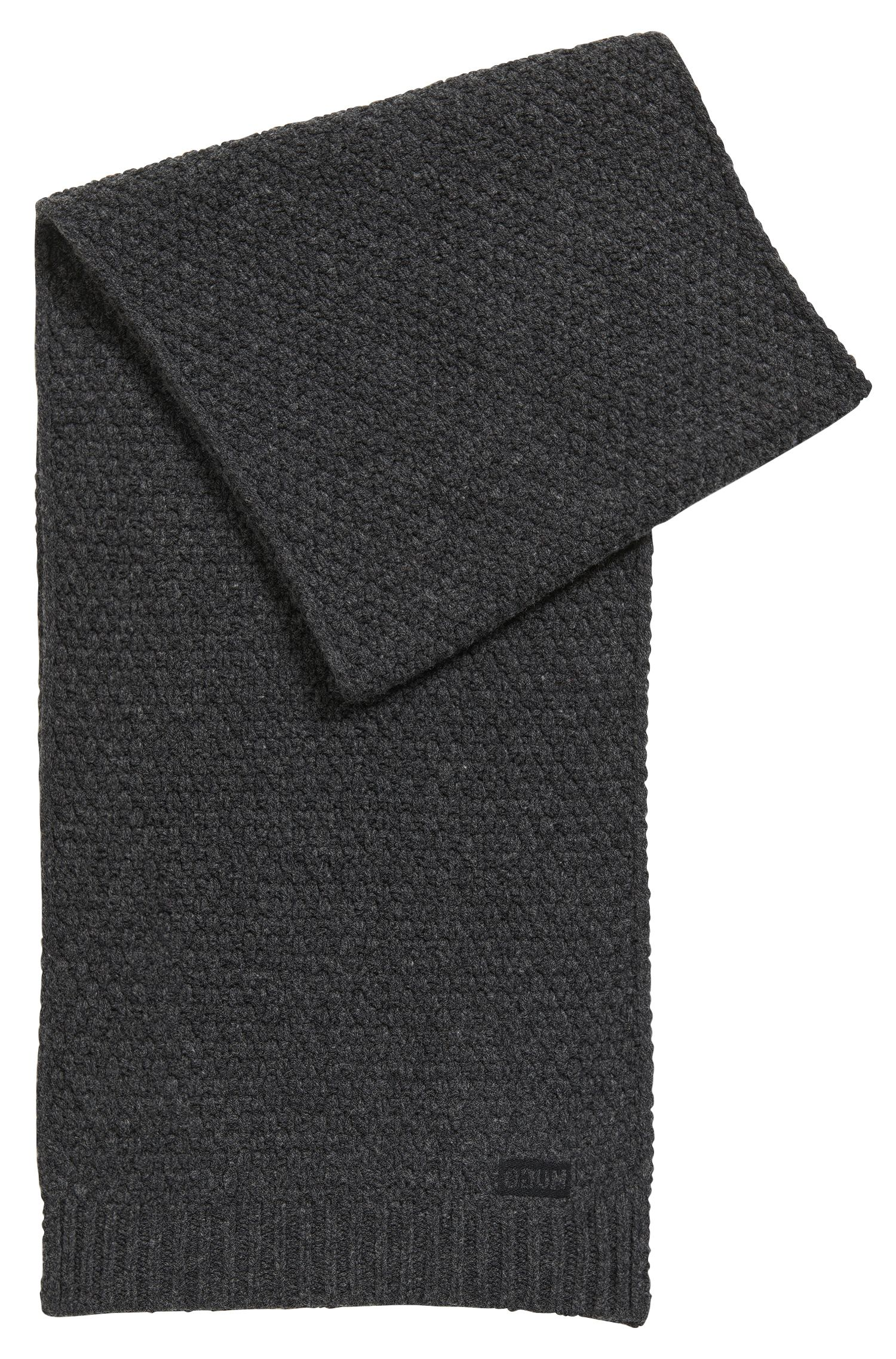 Knitted scarf in virgin wool jacquard