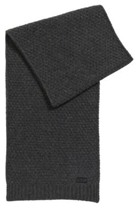 Knitted scarf in virgin wool jacquard, Anthracite