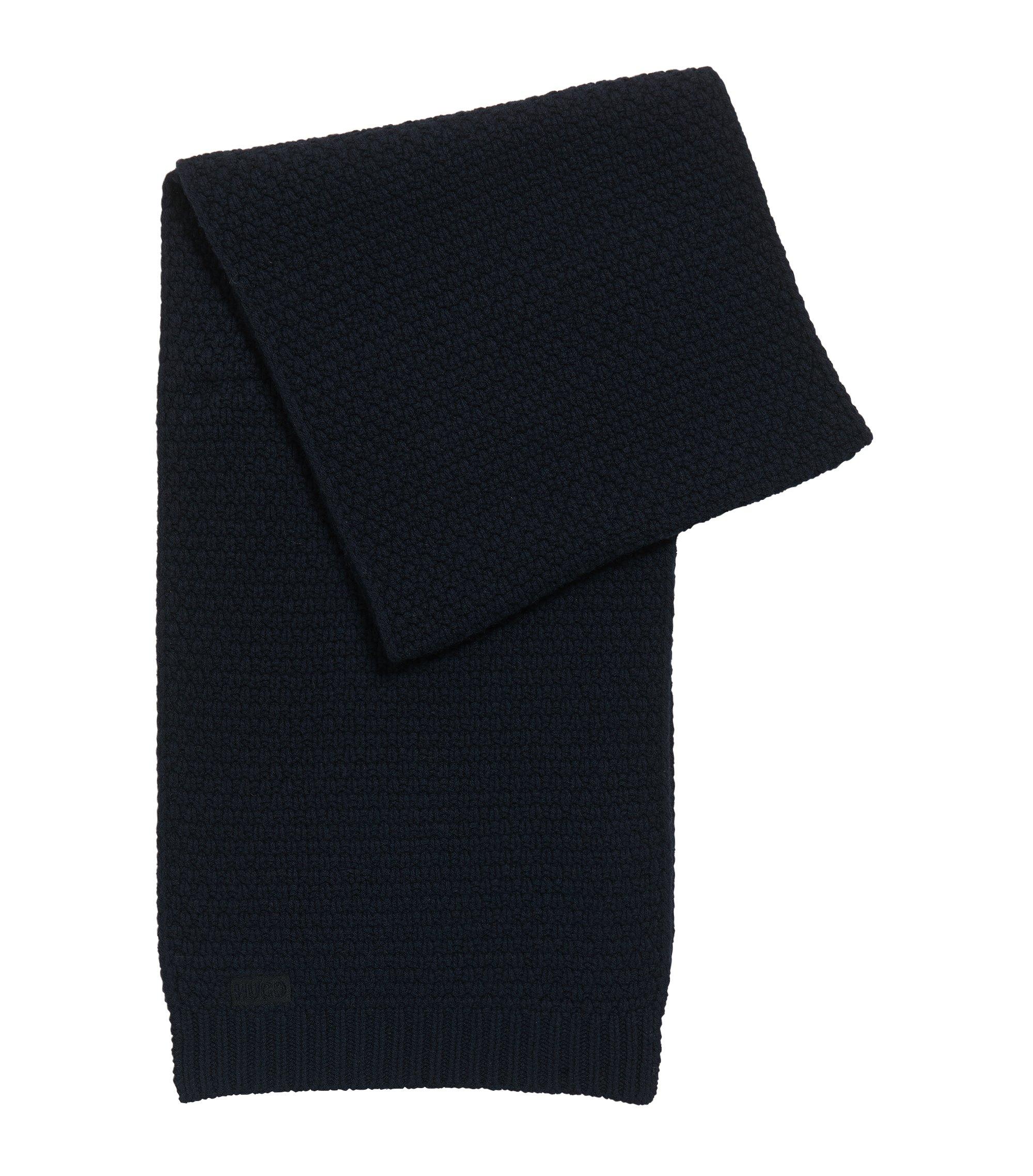 Gebreide sjaal in een jacquard van scheerwol, Donkerblauw