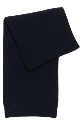 Knitted scarf in virgin wool jacquard, Dark Blue