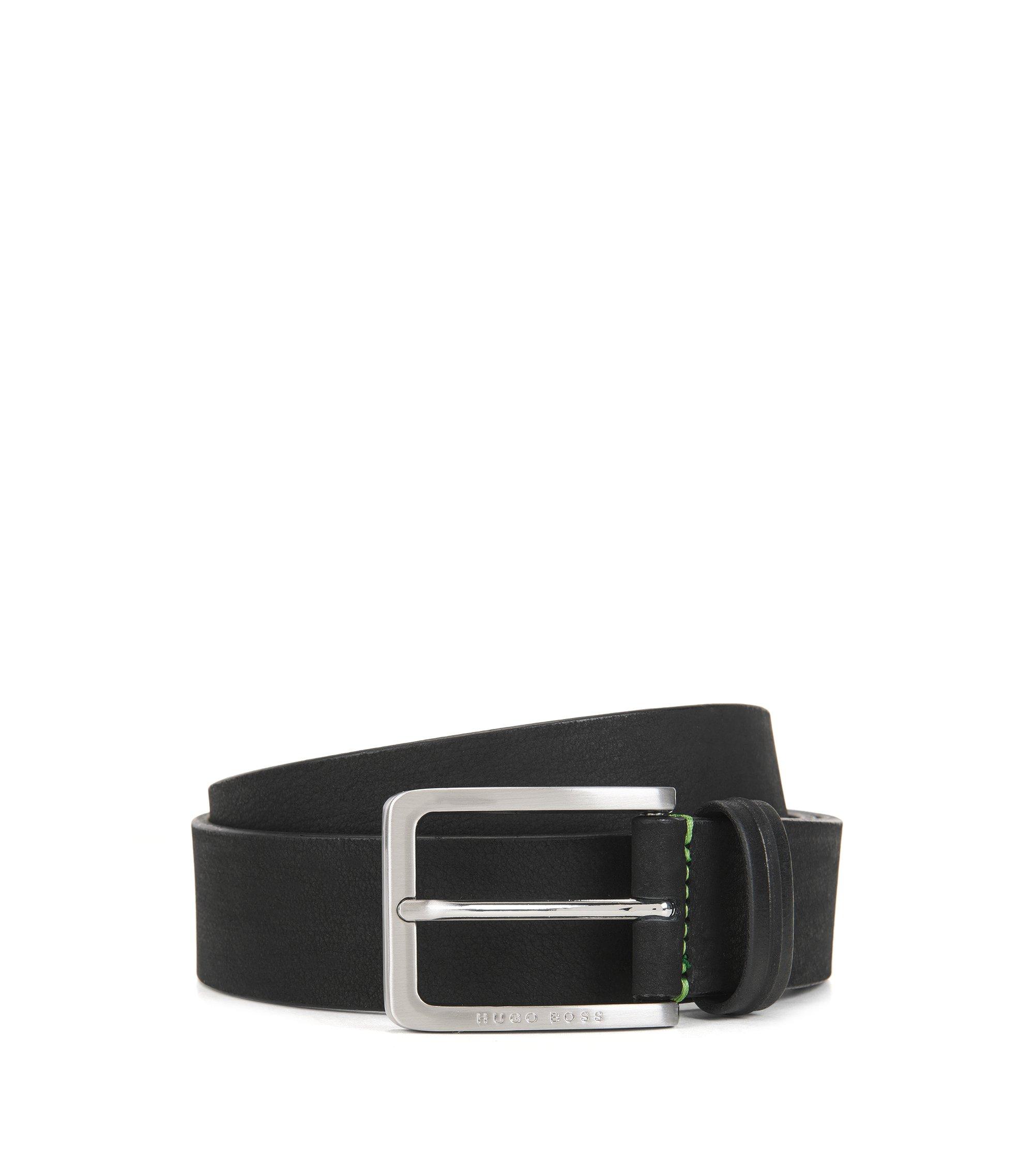Cinturón en piel nobuk con hebilla, Negro
