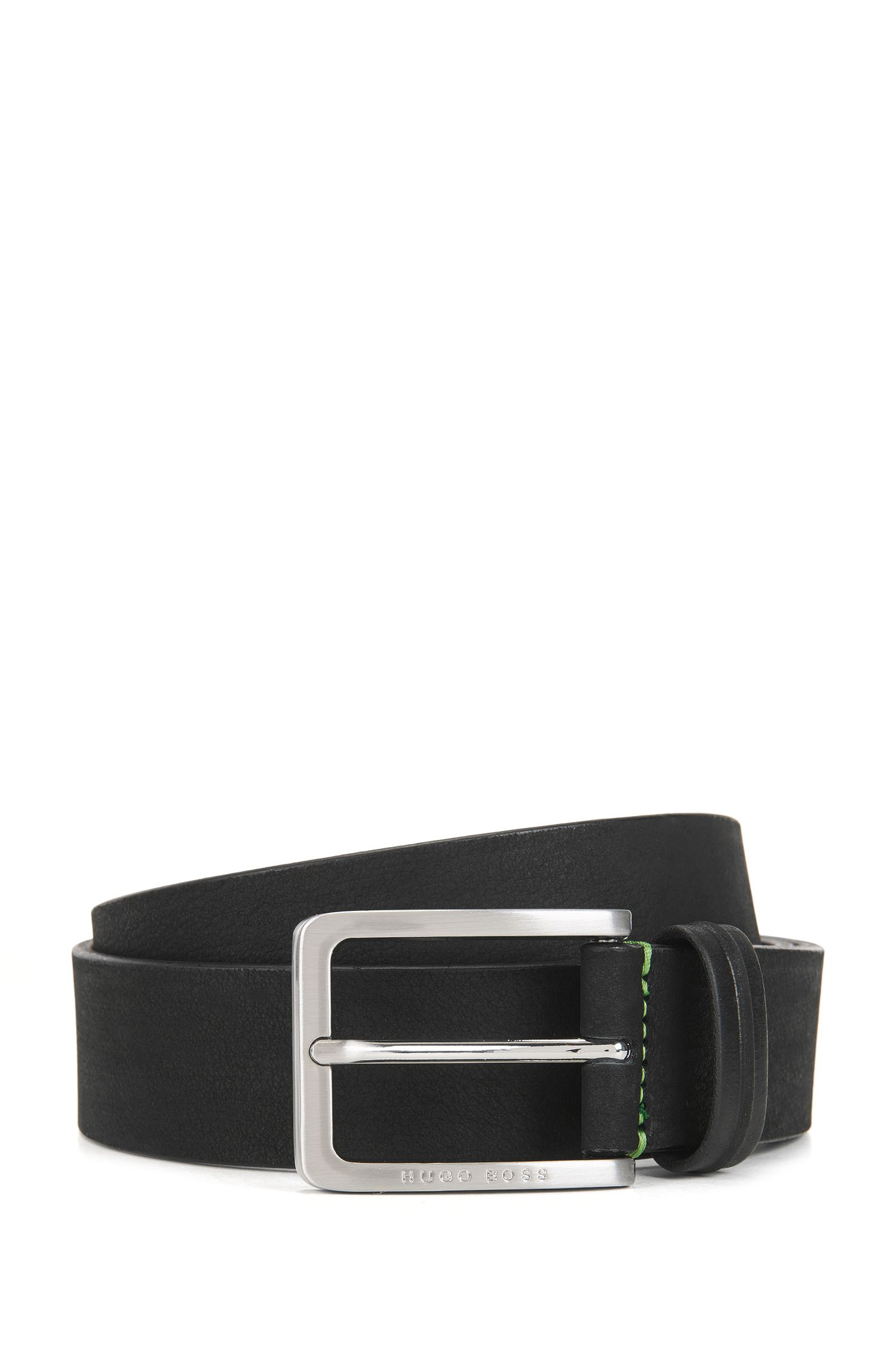 Pin-buckle belt in nubuck leather