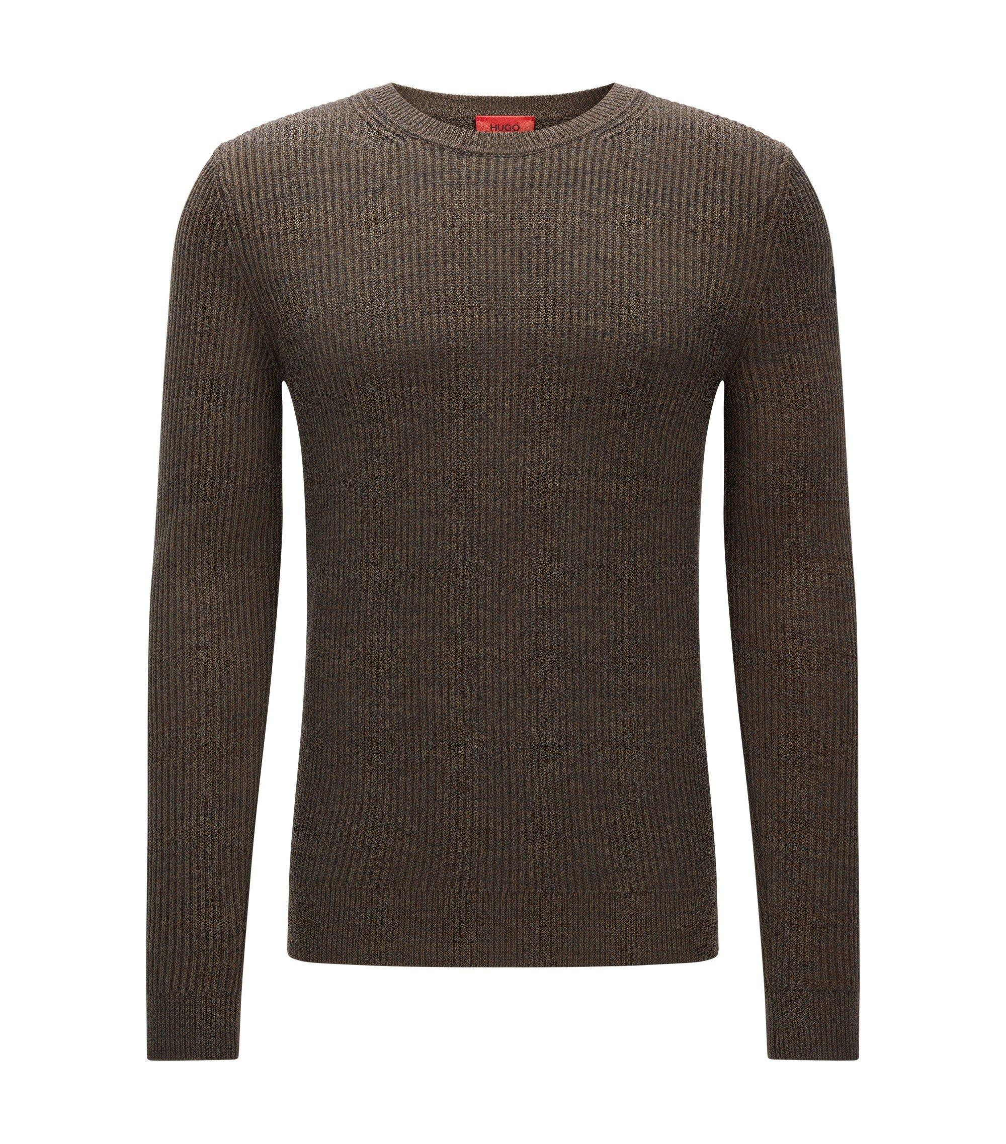 Gerippter Slim-Fit Pullover aus Baumwolle und Schurwolle, Dunkelgrün