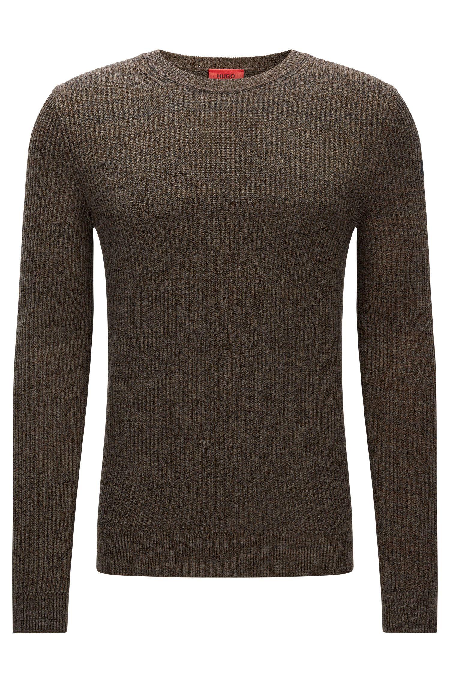 Gerippter Slim-Fit-Pullover aus Baumwoll-Schurwoll-Mix