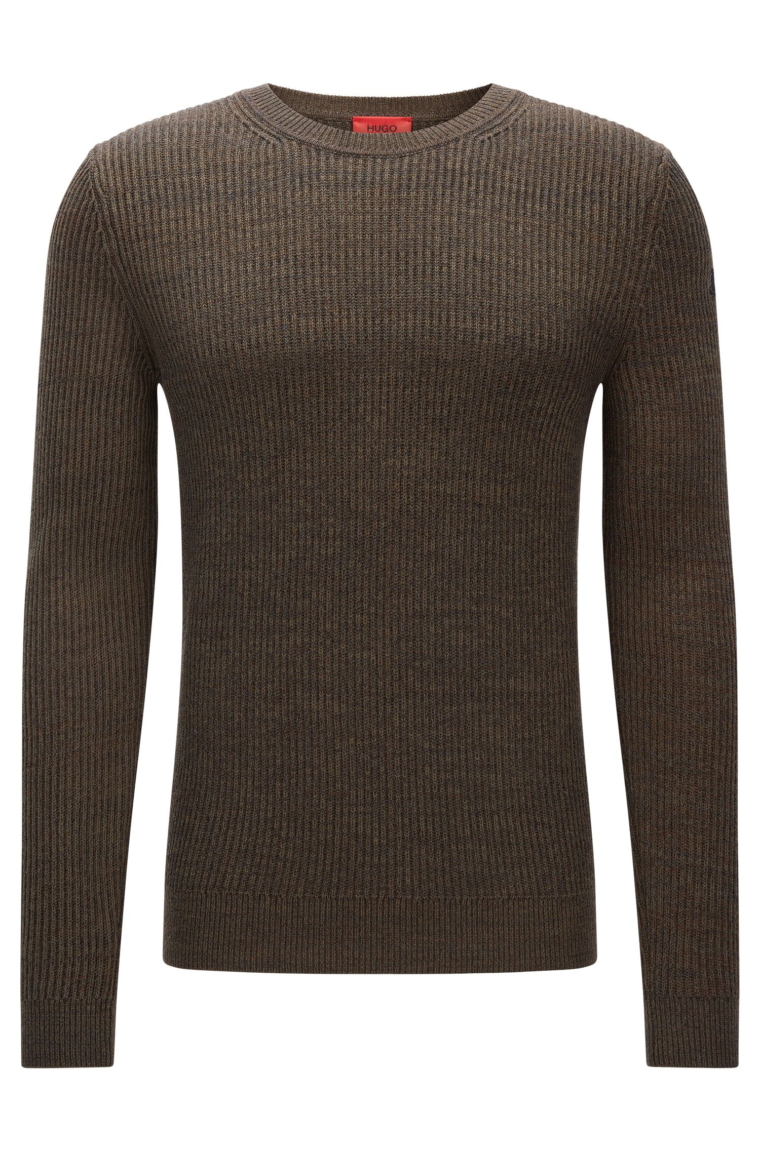 Gerippter Slim-Fit Pullover aus Baumwolle und Schurwolle