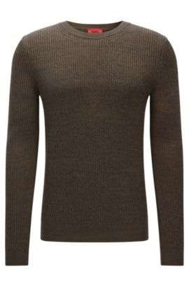 Ribbed sweater in cotton and wool, Dark Green