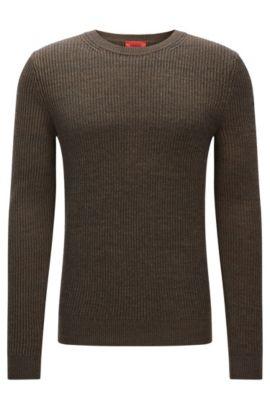 Gerippter Slim-Fit-Pullover aus Baumwoll-Schurwoll-Mix, Dunkelgrün
