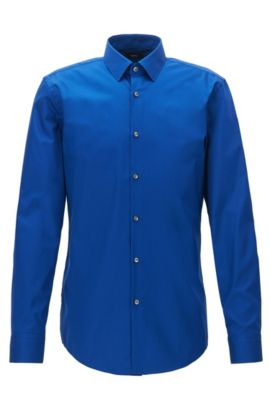 Camicia slim fit in popeline di cotone facile da stirare, Blu