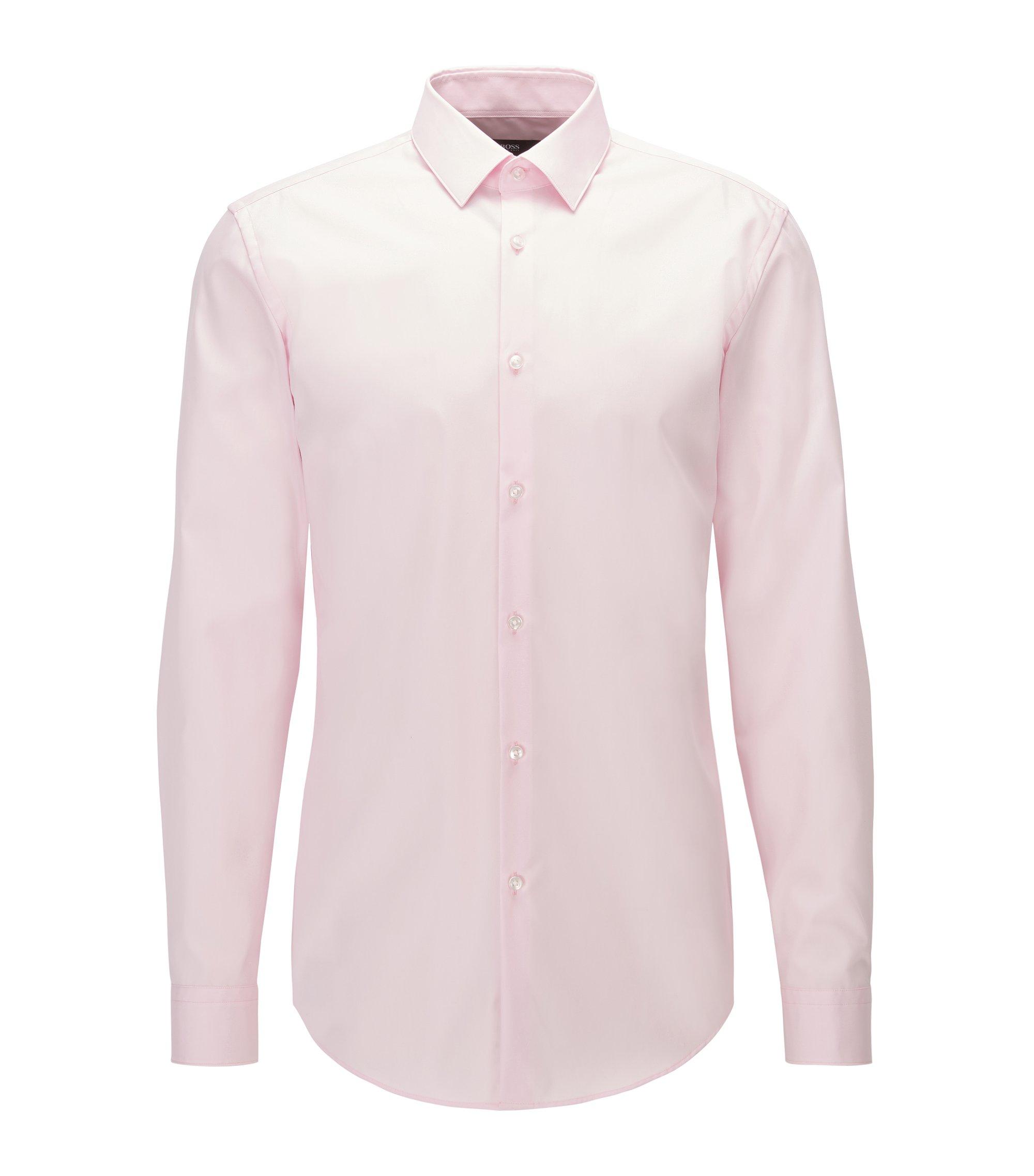 Slim-Fit Hemd aus bügelleichter Baumwoll-Popeline, Hellrosa
