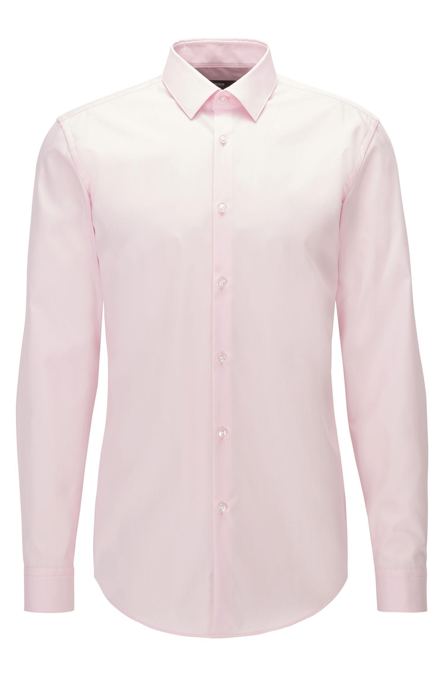 Camicia slim fit in popeline di cotone facile da stirare