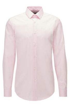 Slim-fit shirt in easy-iron cotton poplin, light pink