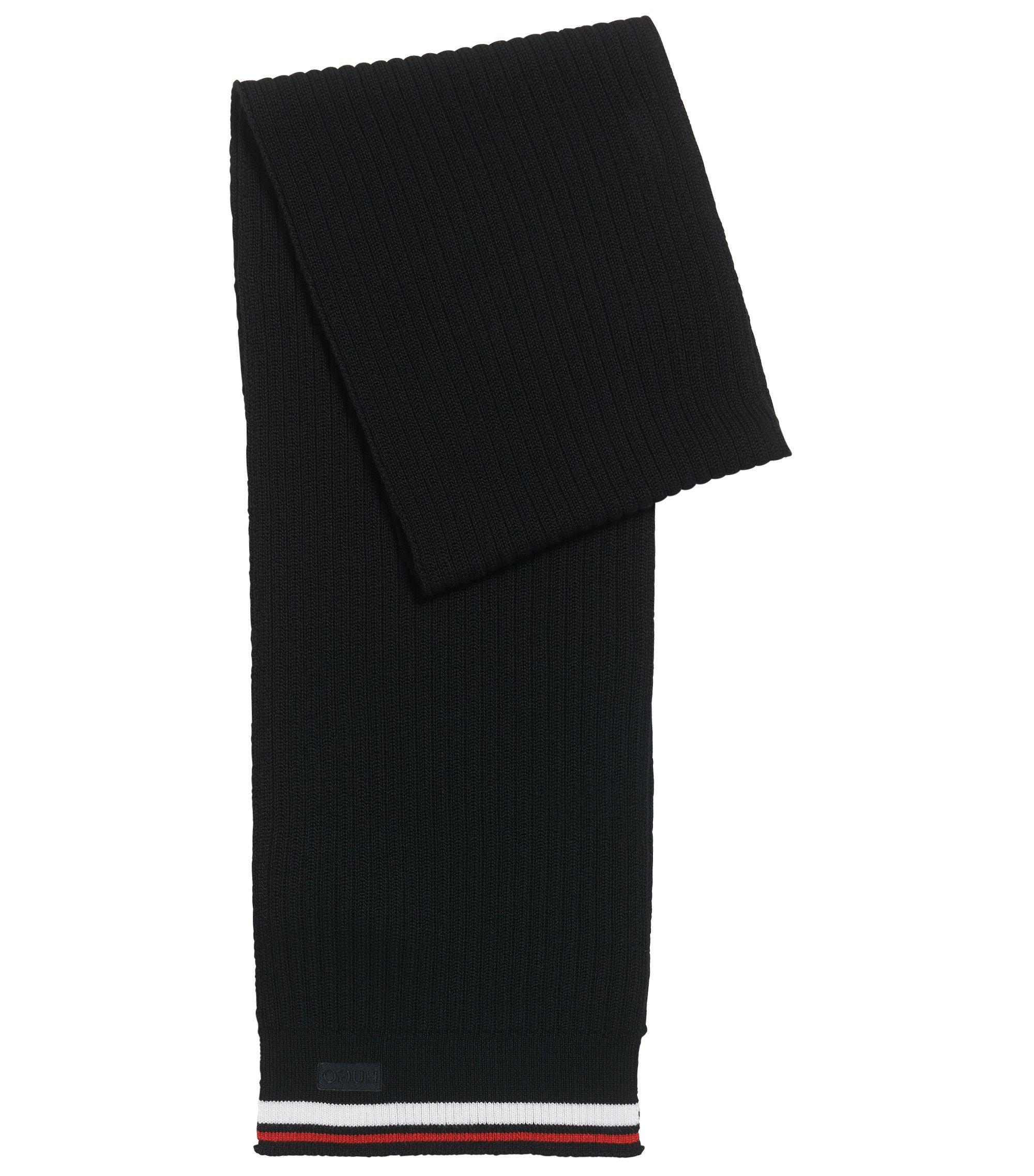 Geribde sjaal van merinowol met streepdetail, Zwart