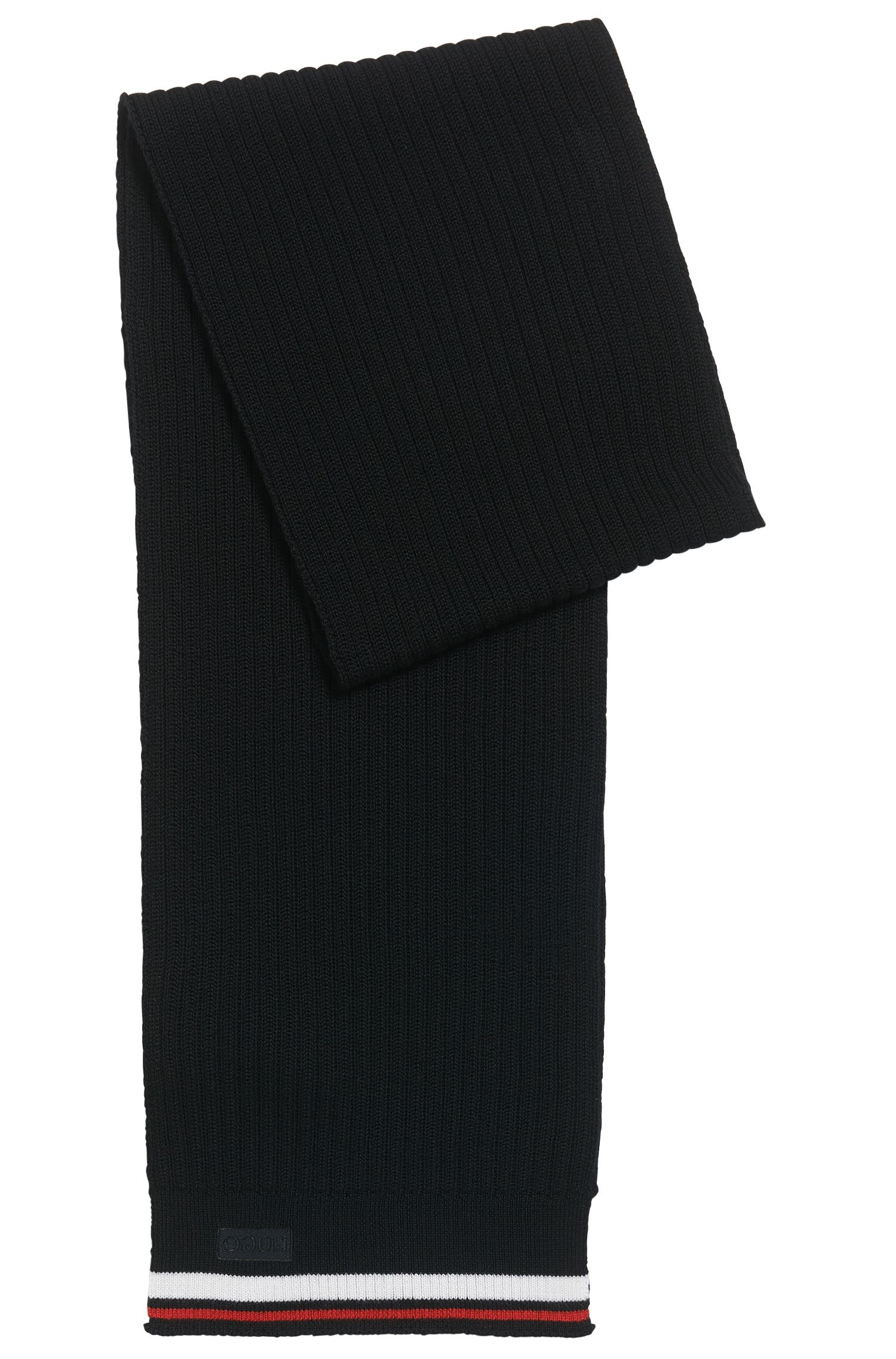 Ribbed scarf in Merino wool with stripe detail