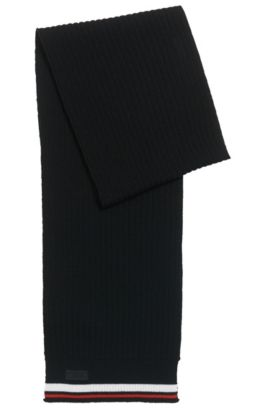 Ribbed scarf in Merino wool with stripe detail, Black