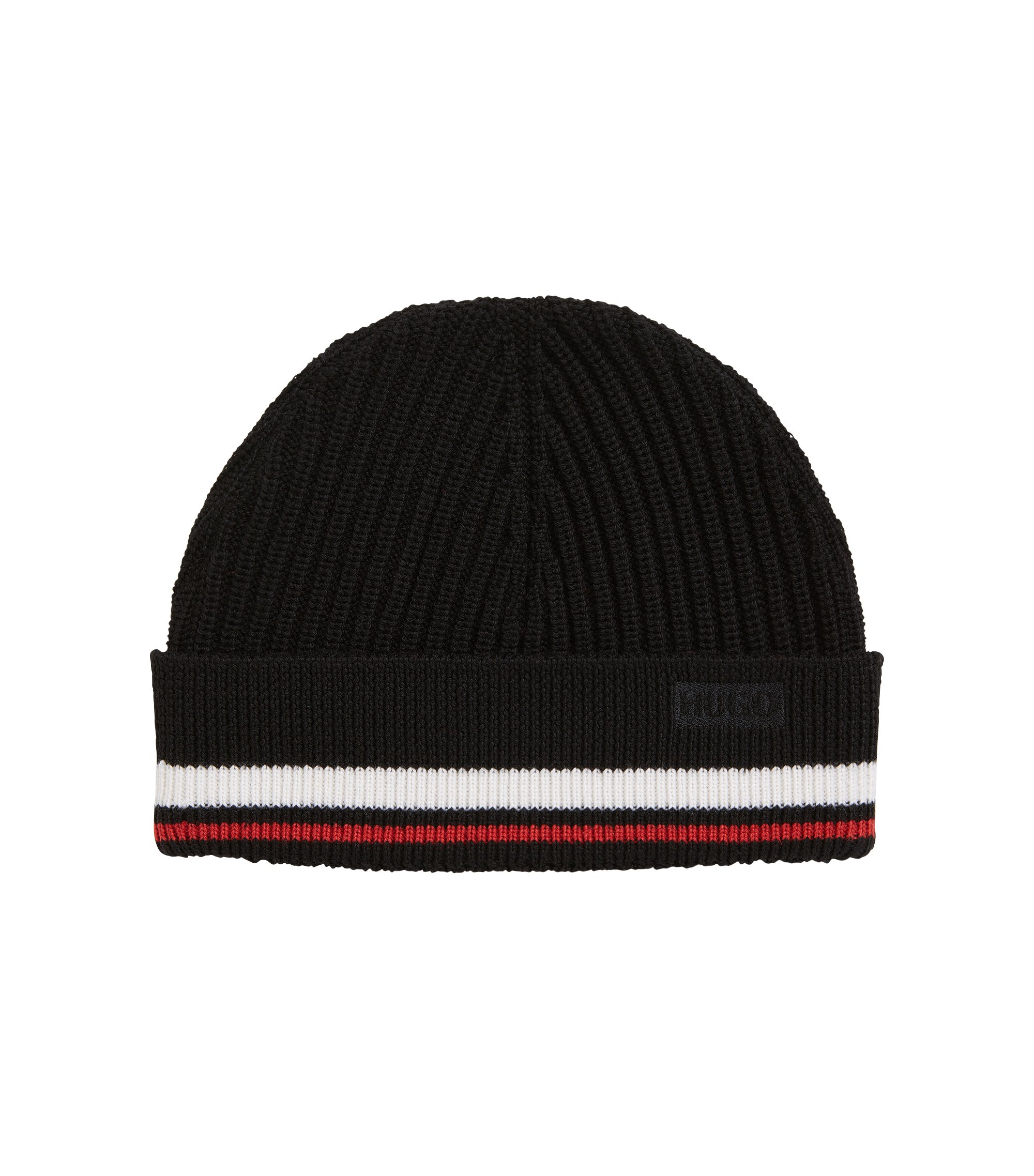 Beanie hat in ribbed Merino wool with stripe detail, Black