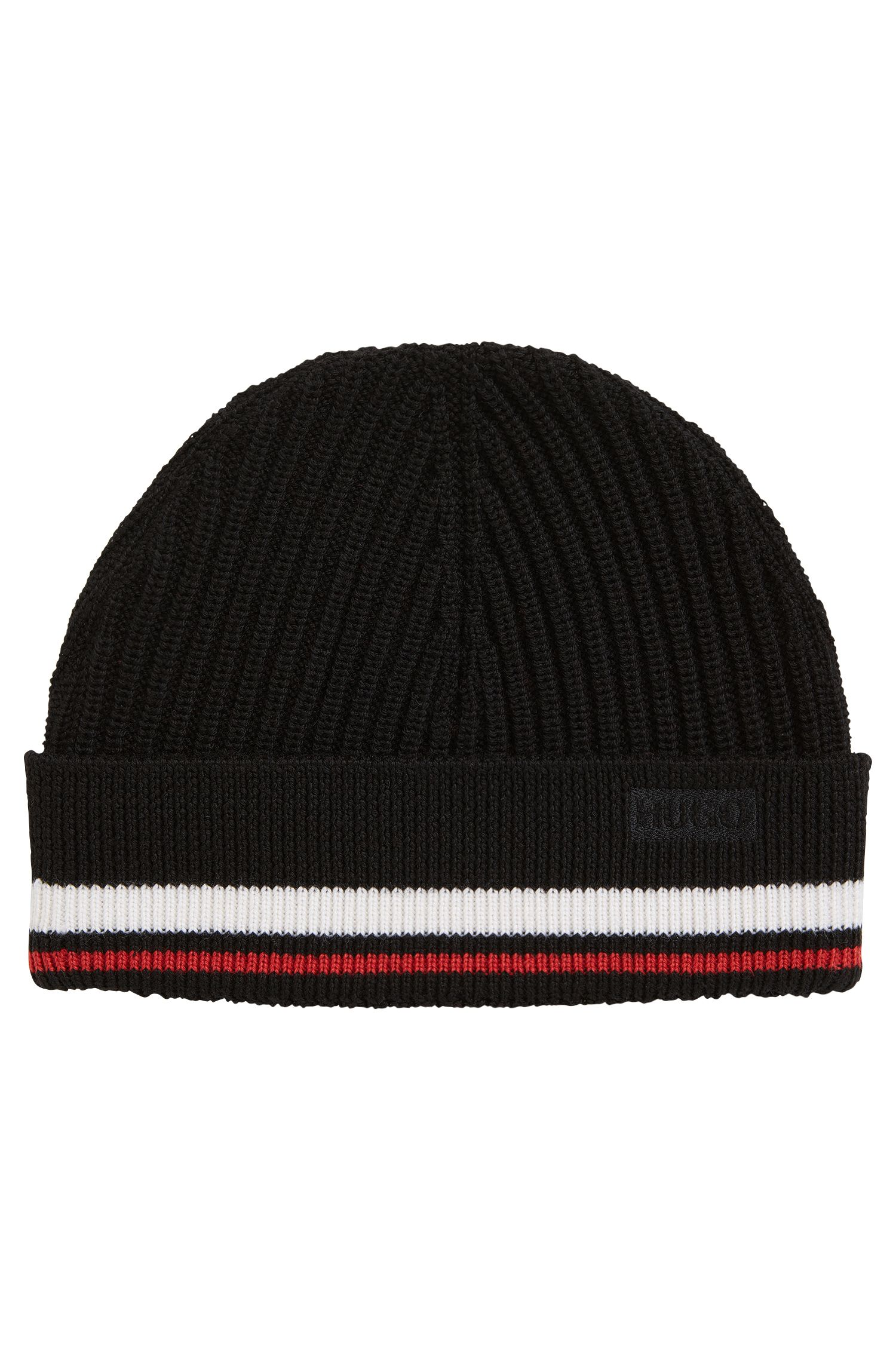 Beanie hat in ribbed Merino wool with stripe detail