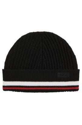 Gerippte Mütze aus Merinowolle mit Streifen-Dessin, Schwarz